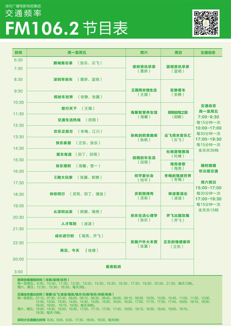 深圳交通广播节目表