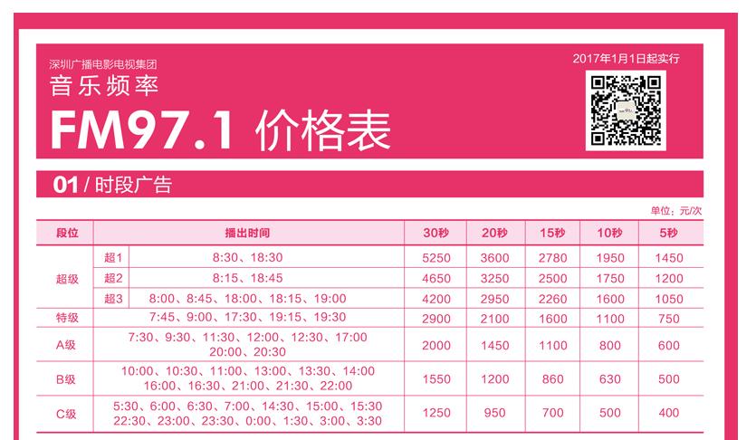 深圳音乐电台飞扬971刊例价